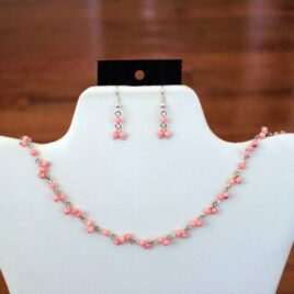Pink Coral Necklace & Earrings Set