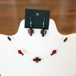 Red Artisan Rippled Cane Glass Necklace & Earrings Set