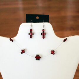 Red Artisan Cane Glass Necklace & Earrings Set