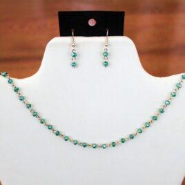 Sea Green Crystal Necklace & Earrings Set