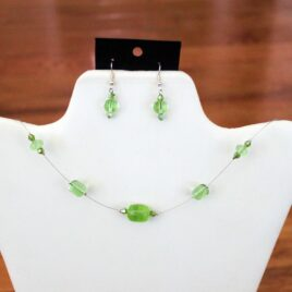 Spring Green Glass & Crystal Necklace & Earrings Set