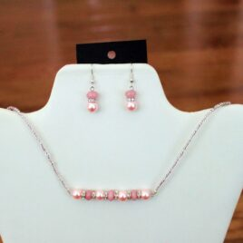 Pink Morganite & Crystal Necklace & Earrings Set
