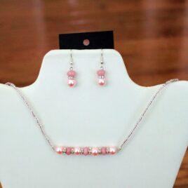 Pink Morganite & Crystal Necklace & Earrings Set
