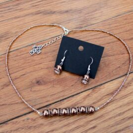Chocolate Glass Pearls & Crystal Necklace & Earrings Set