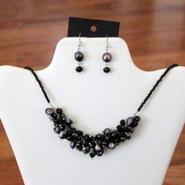 Black Pearls & Crystal Necklace & Earrings Set