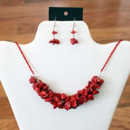 Red Coral Cluster Necklace & Earrings Set