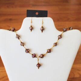 Purple Lampwork Glass Necklace & Earrings Set