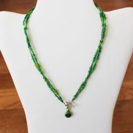 Double Strand Artisan Glass & Crystal Necklace