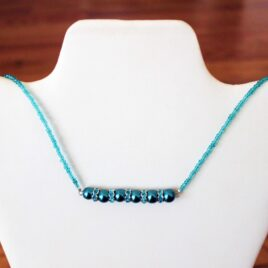 Teal Glass Pearls & Crystal Necklace
