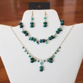 Teal Azurite & Crystal Necklace, Bracelet, & Earrings Set