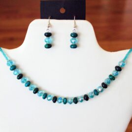 Teal Azurite & Crystal Necklace & Earrings Set