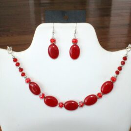 Red Jade & Crystal Necklace & Earrings Set