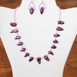 Purple Pearl Necklace & Earrings Set