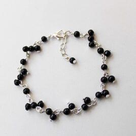 Black Glass Beaded Bracelet