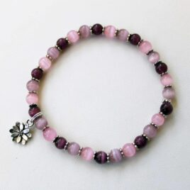 Pink & Purple Stackable Stretch Bracelet with Flower Charm