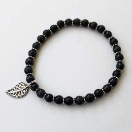 Black Stackable Stretch Bracelet with Leaf Charm