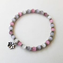 Pink & Gray Stackable Stretch Bracelet with Flower Charm