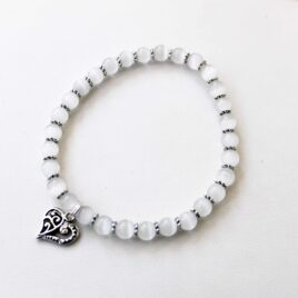 White Stackable Stretch Bracelet with Heart Charm