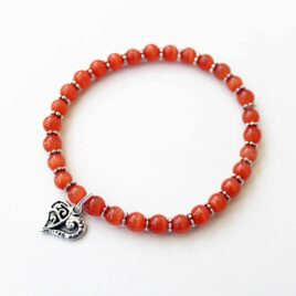 Red Stackable Stretch Bracelet with Heart Charm