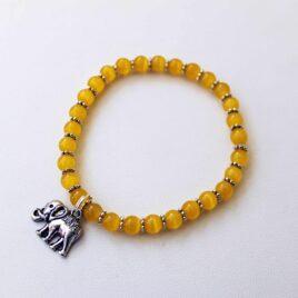 Saffron Yellow Stackable Stretch Bracelet with Elephant Charm
